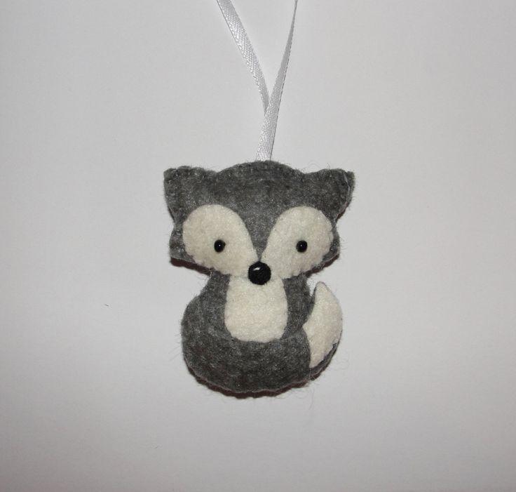 Wool Felt Gray Wolf Ornament Fox Ornament Baby Shower Gifts
