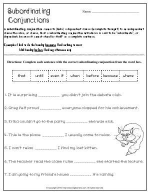 Worksheet | Subordinating Conjunctions | Complete each sentence with ...