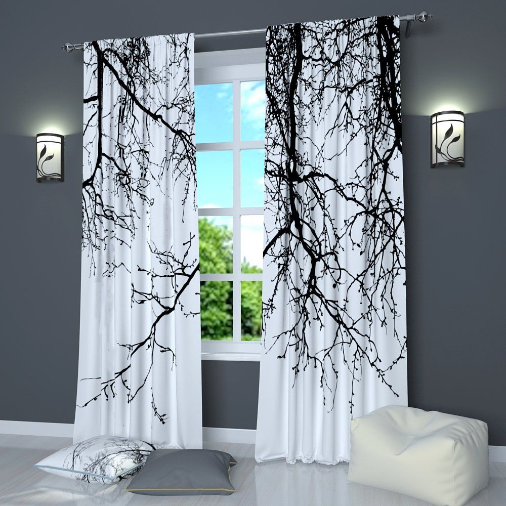 Black and White curtains by Factory4me Black branches | Home Ideas ...