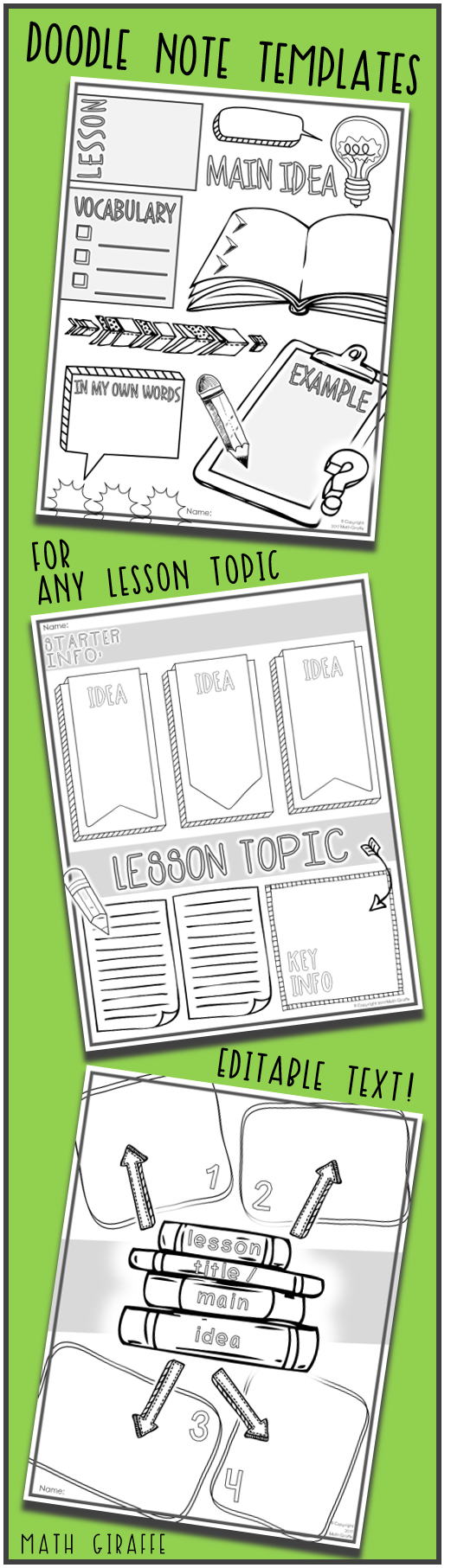editable doodle note templates set 1 math giraffe products tpt