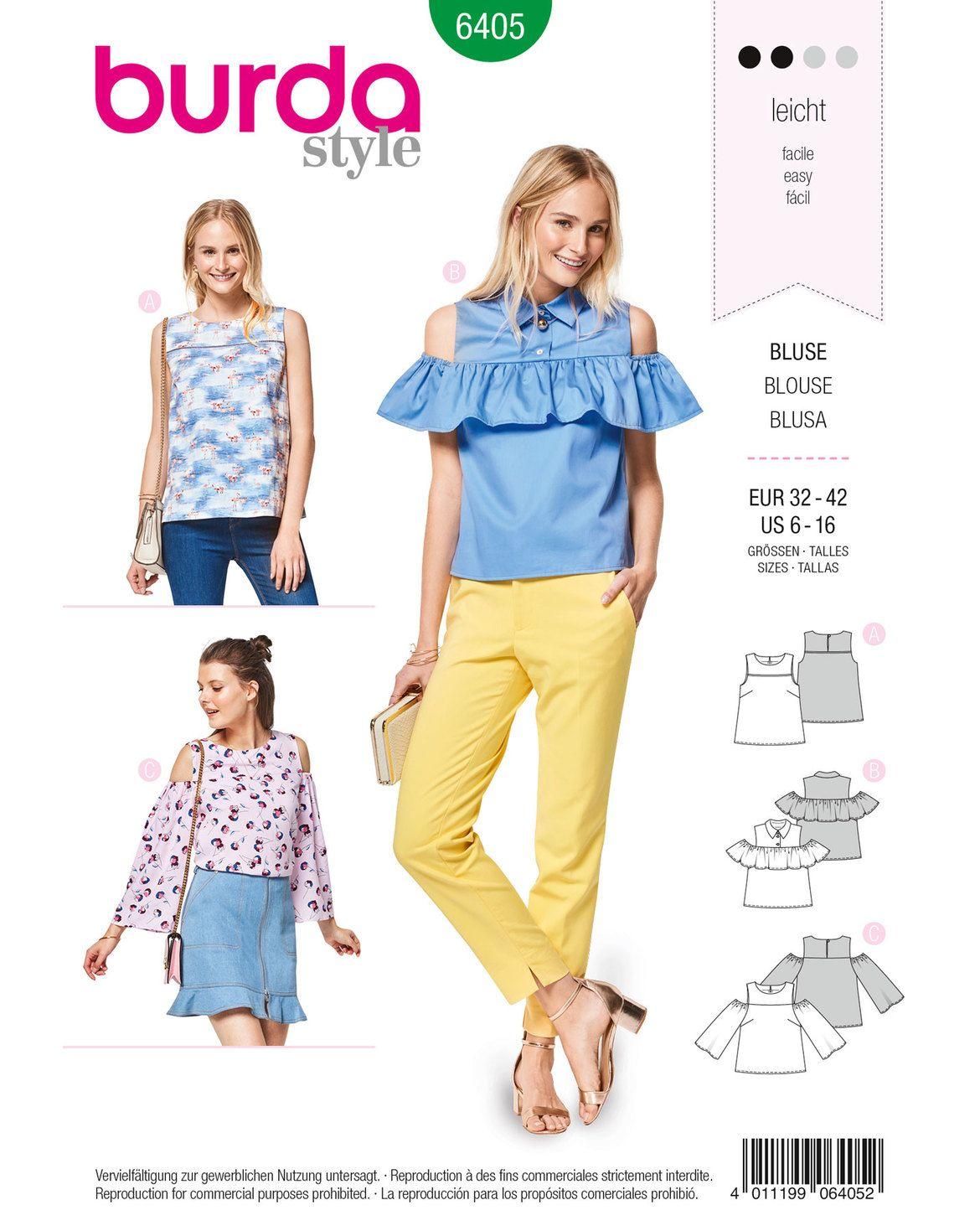 Blusenshirt F/S 2018 #6405A | Rüschen bluse, Blusen und Burda style