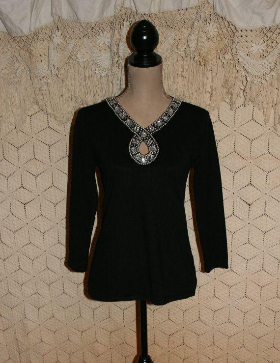 Silk Beaded Black Sweater Top Bohemian Sweater Boho Sweater Dressy ...