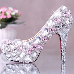 Online Shop Women's pink high-heeled Rhinestone wedding shoes party Evening Shoes with high 12 or 14 cm 35-39 size free shipping|Aliexpress Mobile