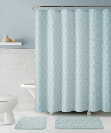 This Blue Mercer Shower Curtain Hooks Bath Rug Set Is Perfect