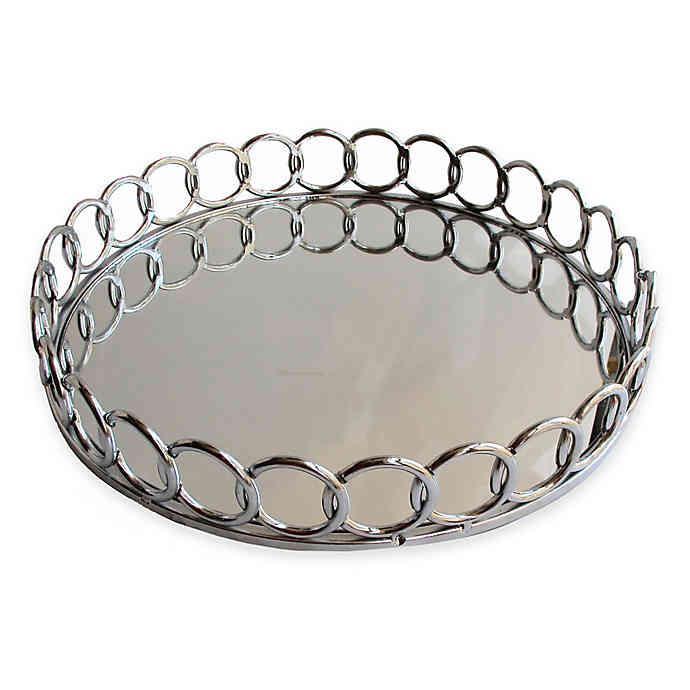American Atelier Round Mirror Looped Metal Tray In 2020 Mirror Tray Silver Tray Decor Tray Decor