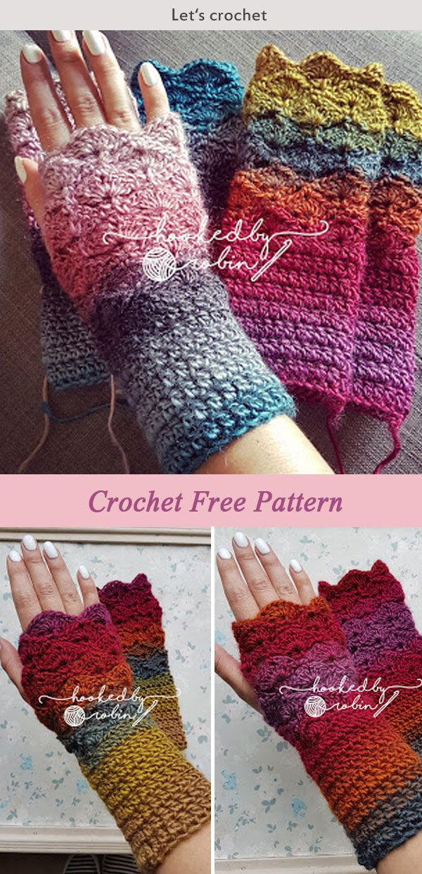 Crochet Fantail Shell Stitch Fingerless Gloves Free pattern | Häkeln ...