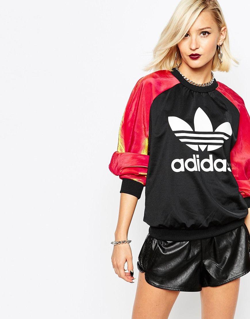 adidas Originals Rita Ora Crew Neck Sweatshirt With Space Metallic Sleeves