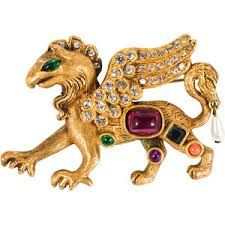 Kenneth Jay Lane Large Emerald Tiger Brooch Kenneth Jay Lane Large Emerald Tiger