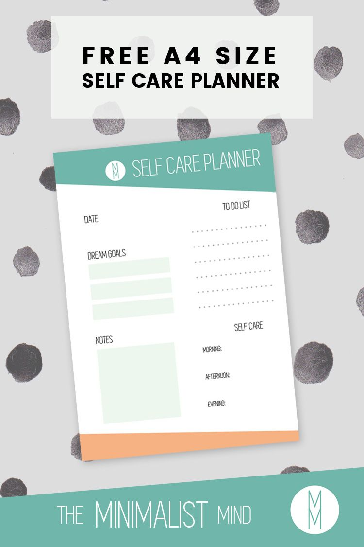 Start a Daily Self Care Routine with this free A4 size planner!