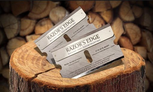 Razors edge business cards die cut beautifully executed manly razors edge business cards die cut beautifully executed colourmoves
