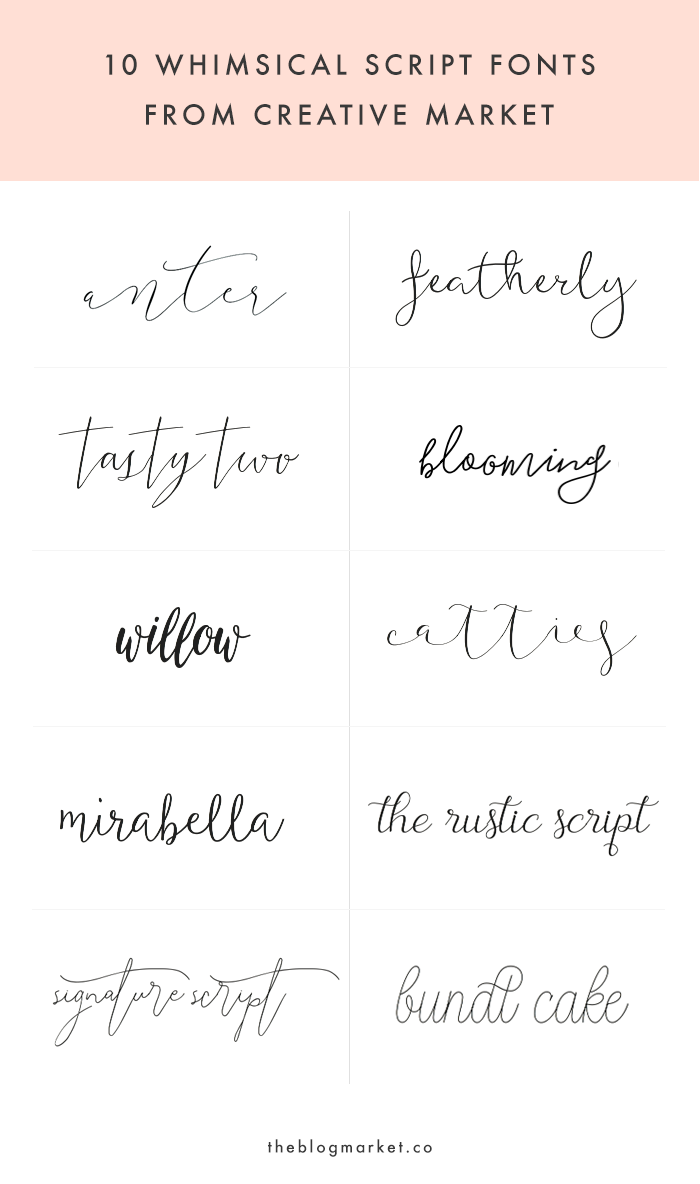 Whimsical Script Fonts From Creative Market Tattoo Font Inspiration