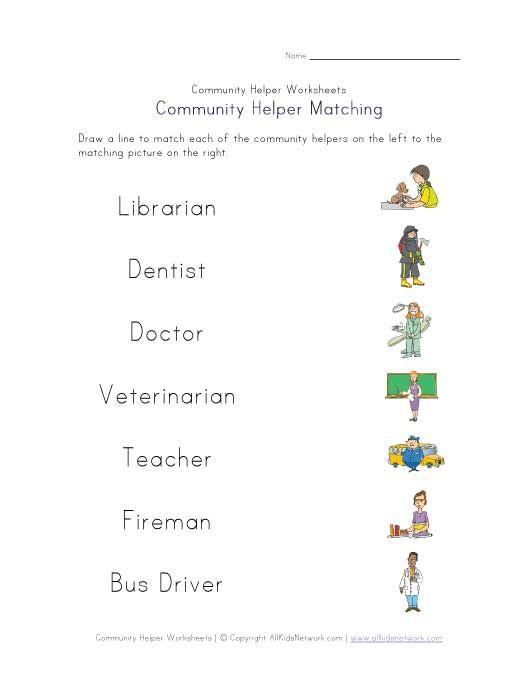 community helpers matching worksheet | Beroepe/Occupations ...