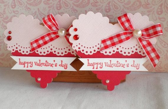 SALE - Valentine Heart Embellishments. -Happy Valentine's Day- Pink and Red