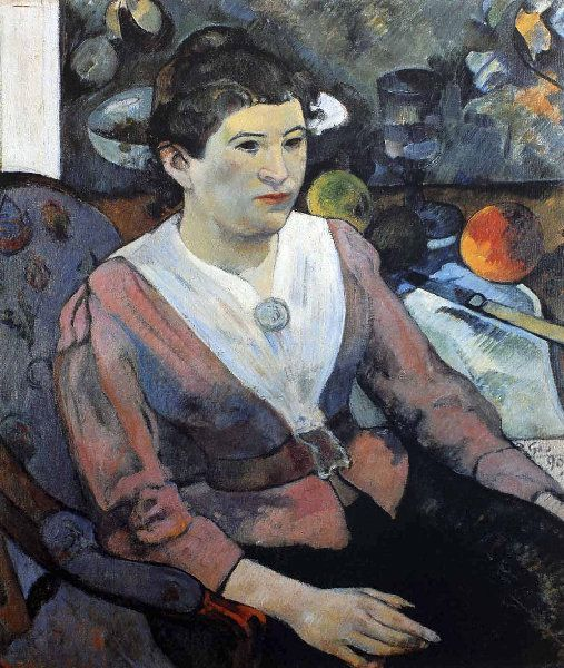 Paul Gauguin - Post Impressionism - Portrait de femme à la nature morte de Cézanne - Portrait of a woman with Cezanne's Still Life behind - 1890