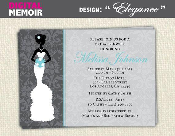 Bridal Wedding Shower Invitation  by DigitalMemoirDesigns on Etsy, $10.00. In purple!