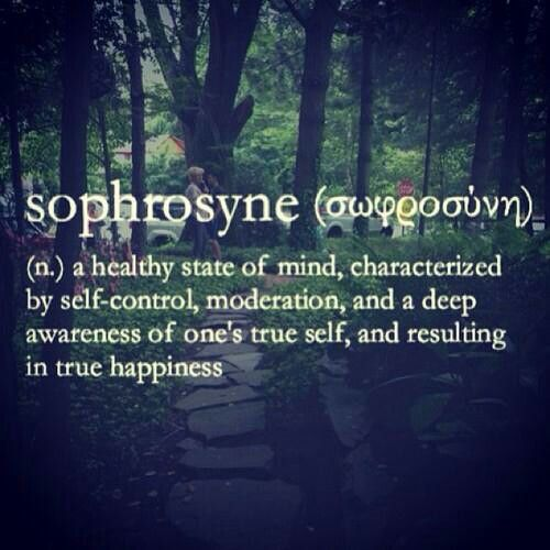 Sophrosyne (n) ..a healthy state of mind, characterized by self-control, moderation, and a deep awareness of one's true self, and reaulting in true happiness