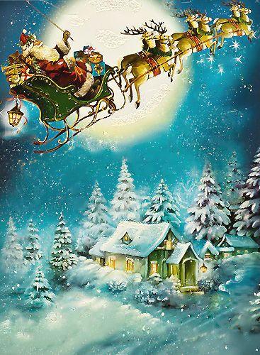 Santa Sleigh Navidad De Antano Hermosas Imagenes De Navidad Escenas De Navidad