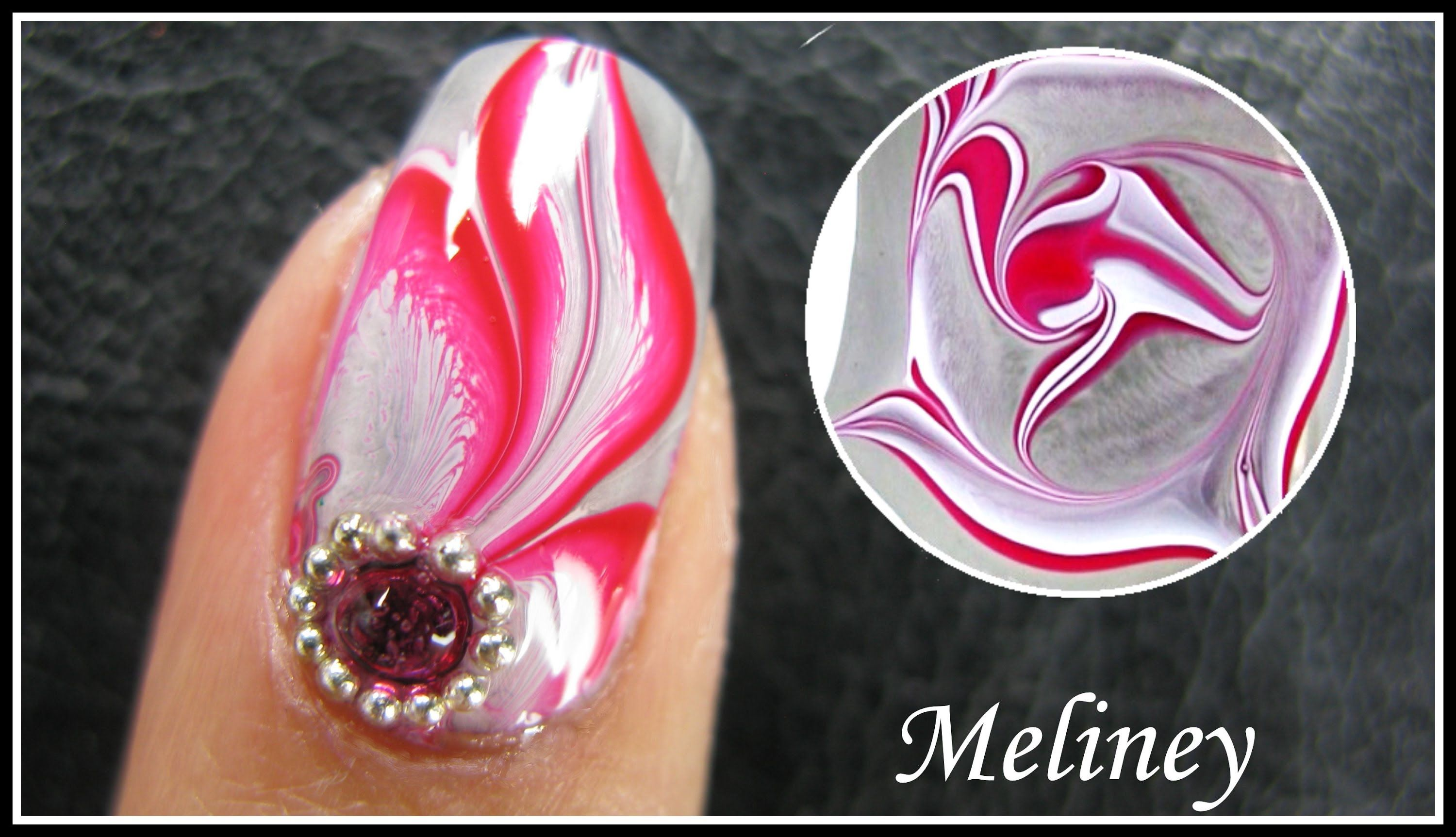 WATER MARBLE NAIL ART TUTORIAL | ENCHANTED FOREST RED FLOWER FEATHER ...