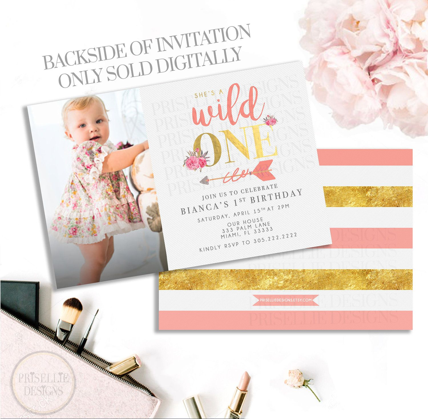 A Wild One Birthday Invitation, Floral 1st Birthday Invitation, Boho ...
