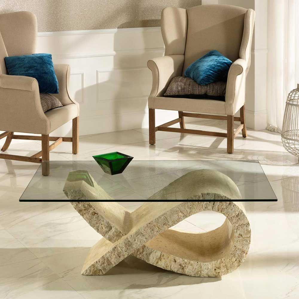 Wohnzimmer Couchtisch mit Steinfuß modern Jetzt bestellen unter ...