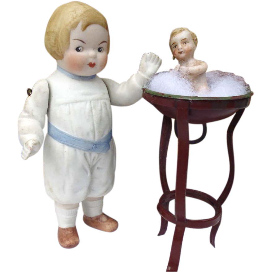 Boy Doll with Miniature Baby in Wash Stand