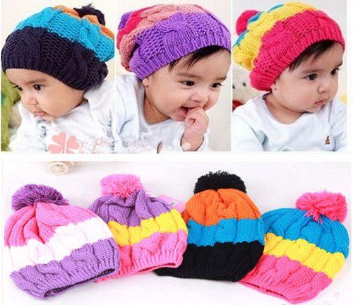 5f2a55ea71b Baby Girls   Boys Wool knit sweater pom pom Winter Hat