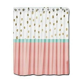 Pink Gold And Teal Shower Curtain Teal Bathroom Decor