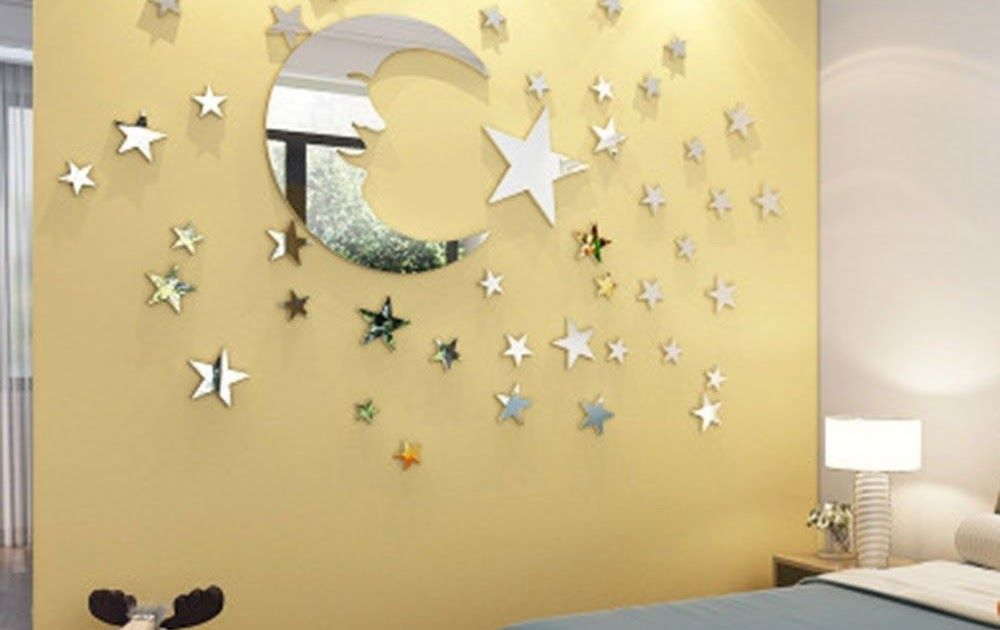 EP_ Removable 3D Acrylic Mirror Surface Moon and Stars Wall Sticker ...