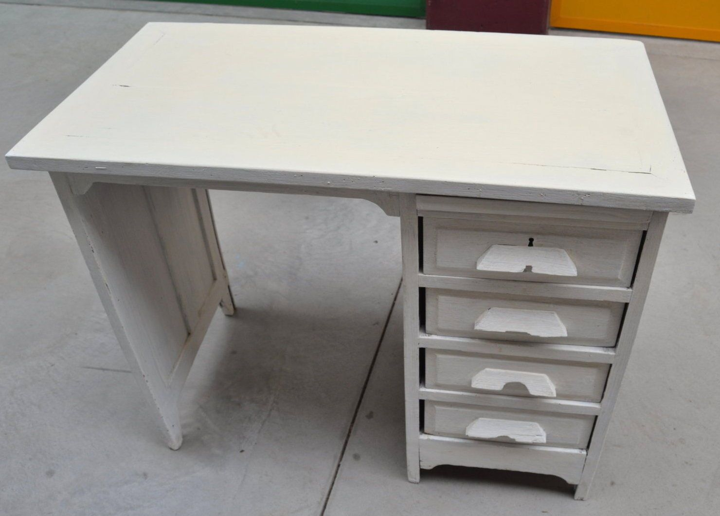 Shabby mobili ~ Piccola scrivania anni in rovere massello laccata shabby chic