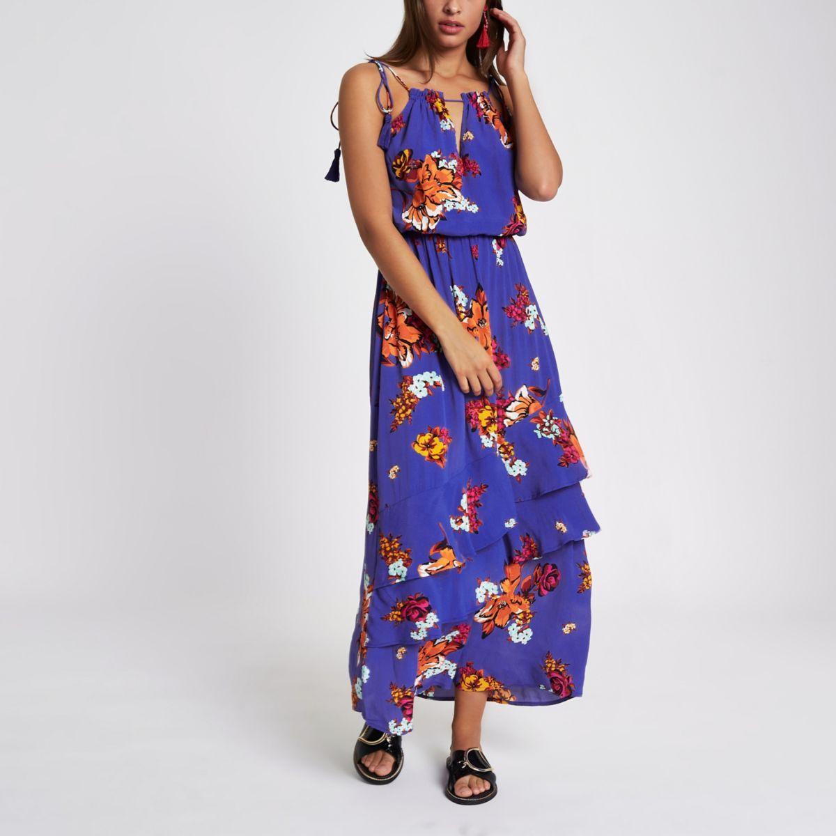 d87634c5a909 Blue floral print tassel high neck maxi dress