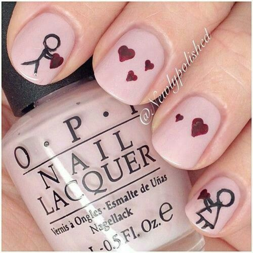 Stick Figures In Love Valentines Day Ready Nails Valentine Nail Art Nail Art Valentines Nails