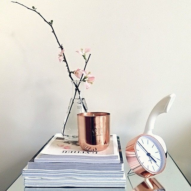 My bedside table featuring SOH candle, Karlsson minimal alarm clock & Scandi phone.