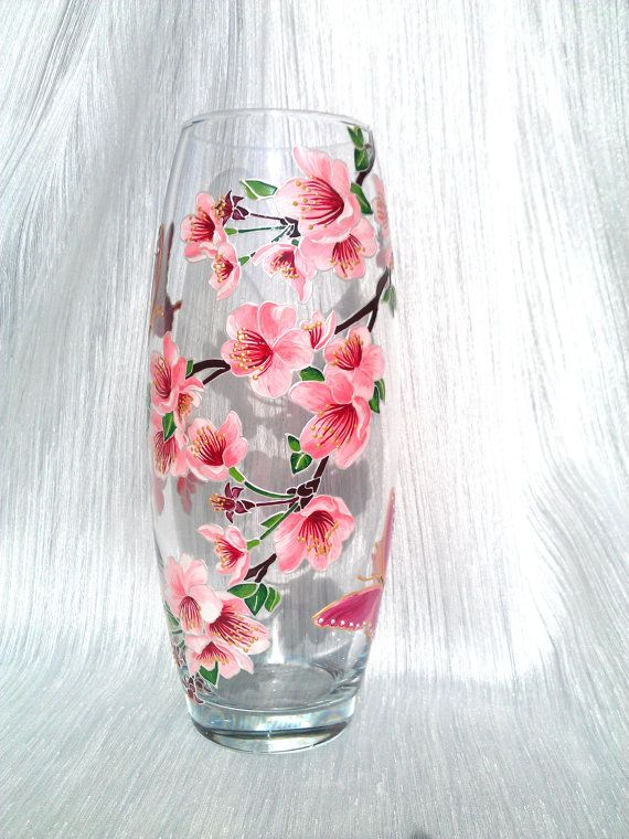 Sakura Vase Glass Vase Hand Painted Hand Painted Vase Hand Painted