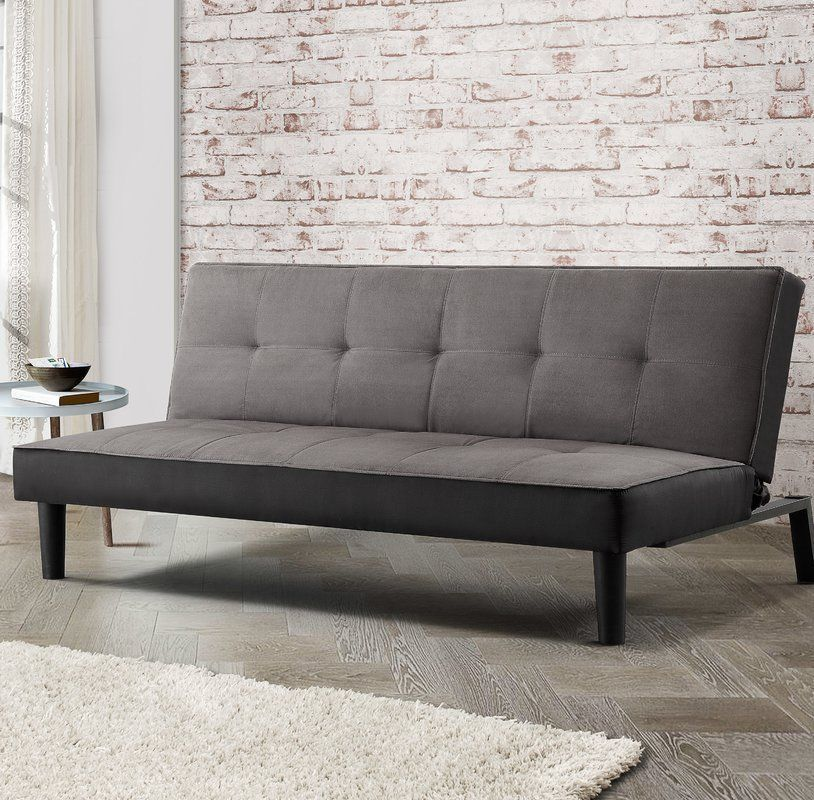 Grey Sofa Bed 3 Seater Clic Clac Design Cushioned Seat Living Room Furniture