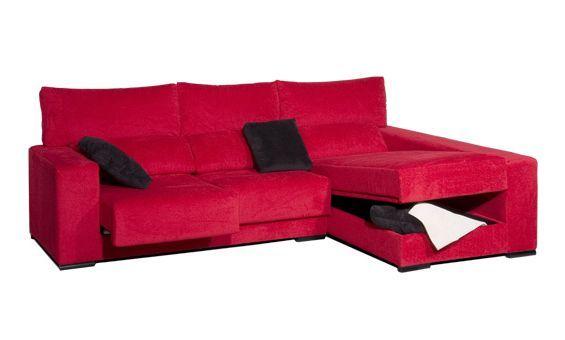 Sofá dos plazas más chaise longue derecha tapizado en tela