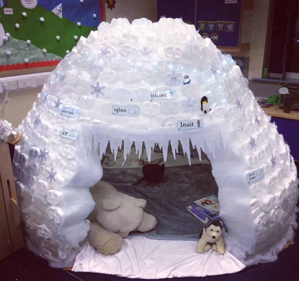Milk bottle igloo inspiration from the twinkl blog room for How to build an igloo out of milk jugs