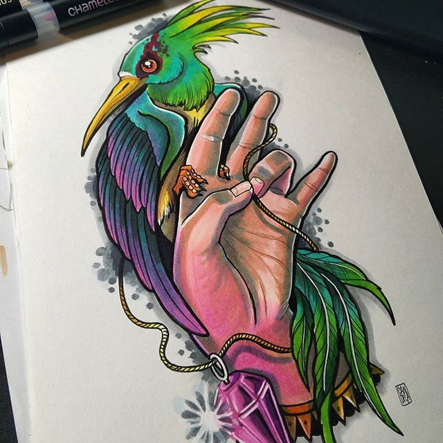 Chameleon Arts Tattoo Flash: Beautiful Tattoo Design By @candela_pajaro_tattoo Using