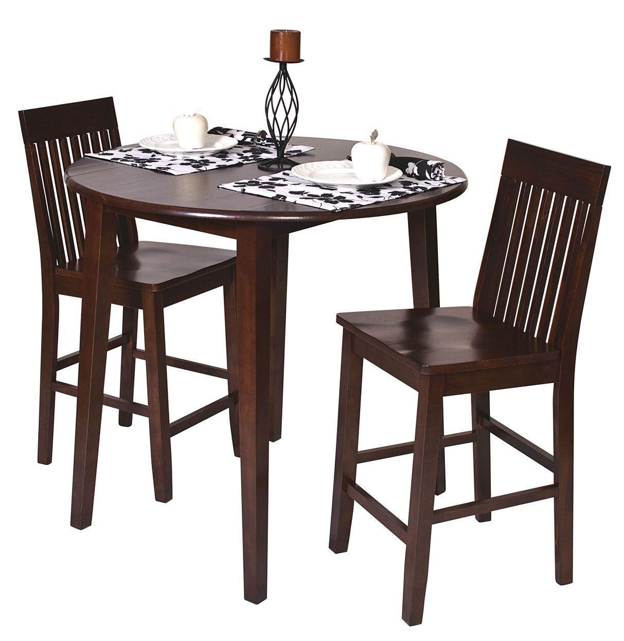 Kitchen bistro set   Pc SET Amaretto Finish Wood H Round Dining Bistro Table u  Pub