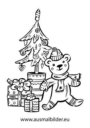 Ausmalbild Weihnachtsbaum Mit Einem Teddy Ausmalbilder Weihnachten Ausmalbild Weihnachtsbaum Ausmalen