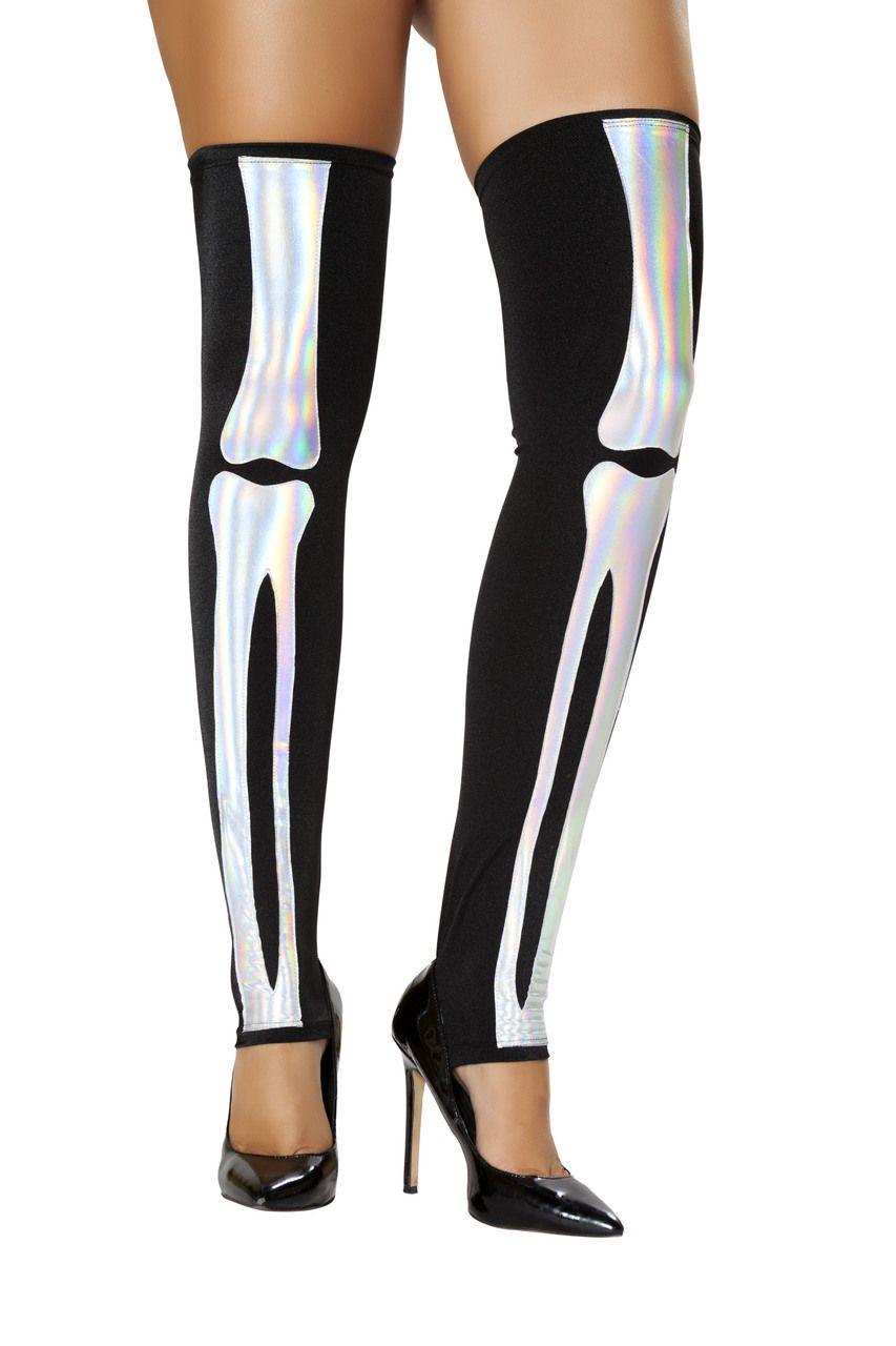 bf9f088cdab Sexy Roma Black Silver Iridescent Bones Skeleton Thigh Highs Stockings  Leggings Leg Warmers Halloween Costume Accessory