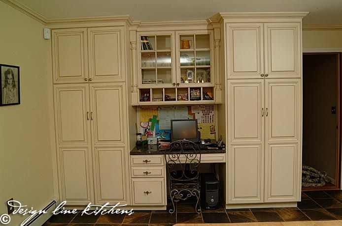 full wall cabinets with built in desk in kitchen | Built ...