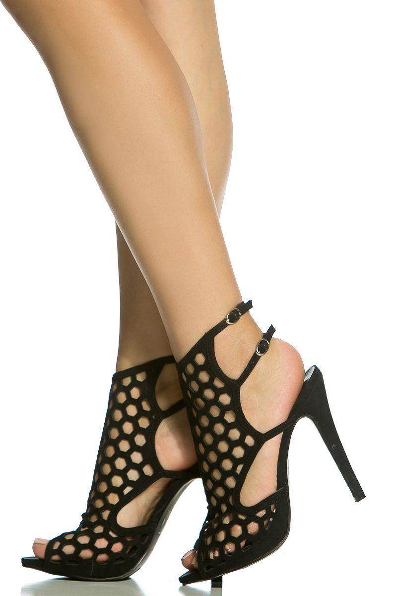 91d3af2c94ab Black Faux Suede Cut Out Open Toe Heels   Cicihot Heel Shoes online store  sales Stiletto Heel Shoes