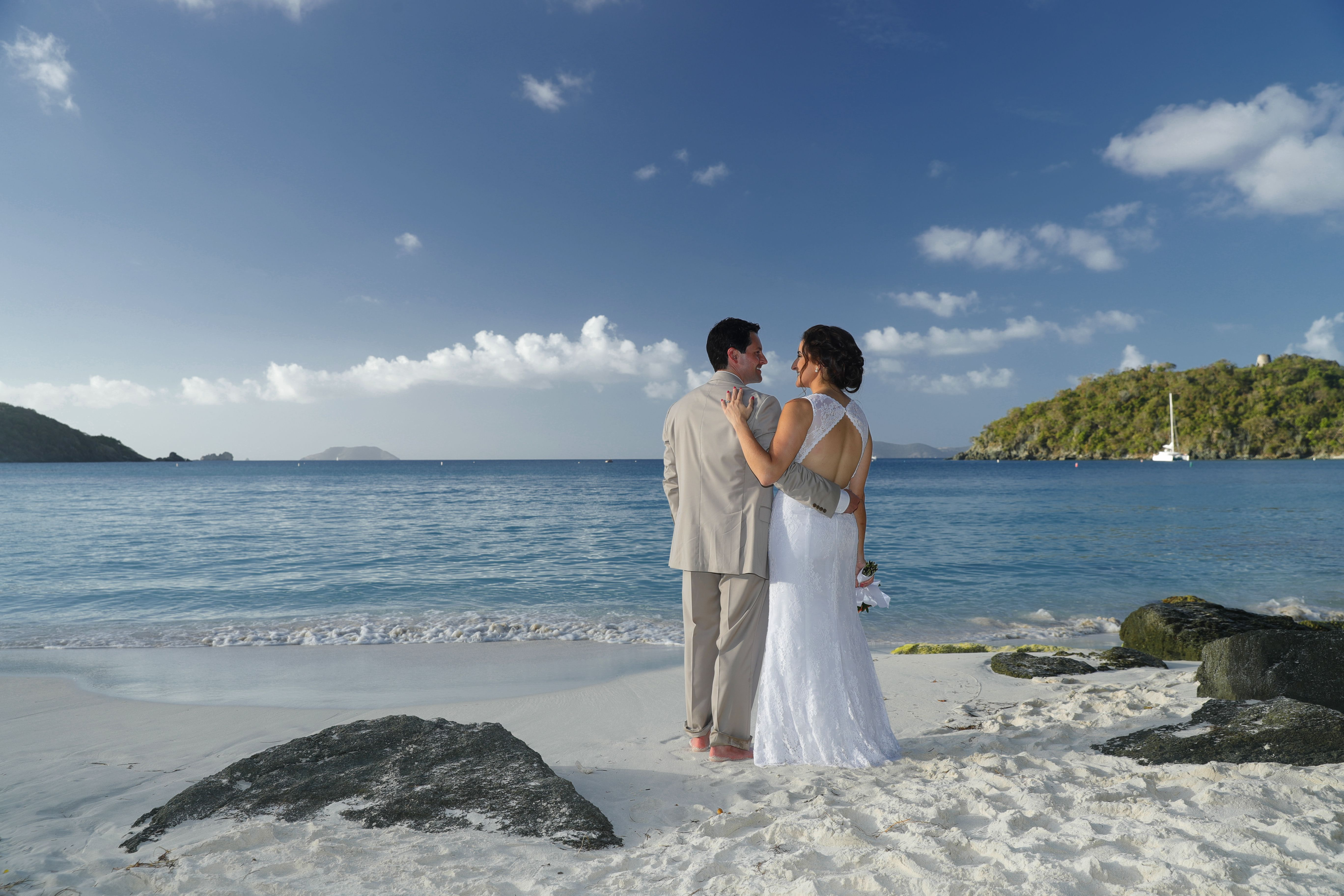 Morning ceremony on the beach in St. John. Caribbean