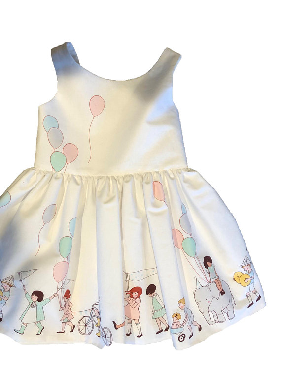c200fad1b Pastel Colored Toddler Sundress Parade Theme Party Twirly Skirt Parade Dress  Balloon Print Lined Dre