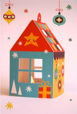 Bora Illustraties Holiday Home Free To Download Christmas Diy Kids House Gift Box Gift Box Template Free