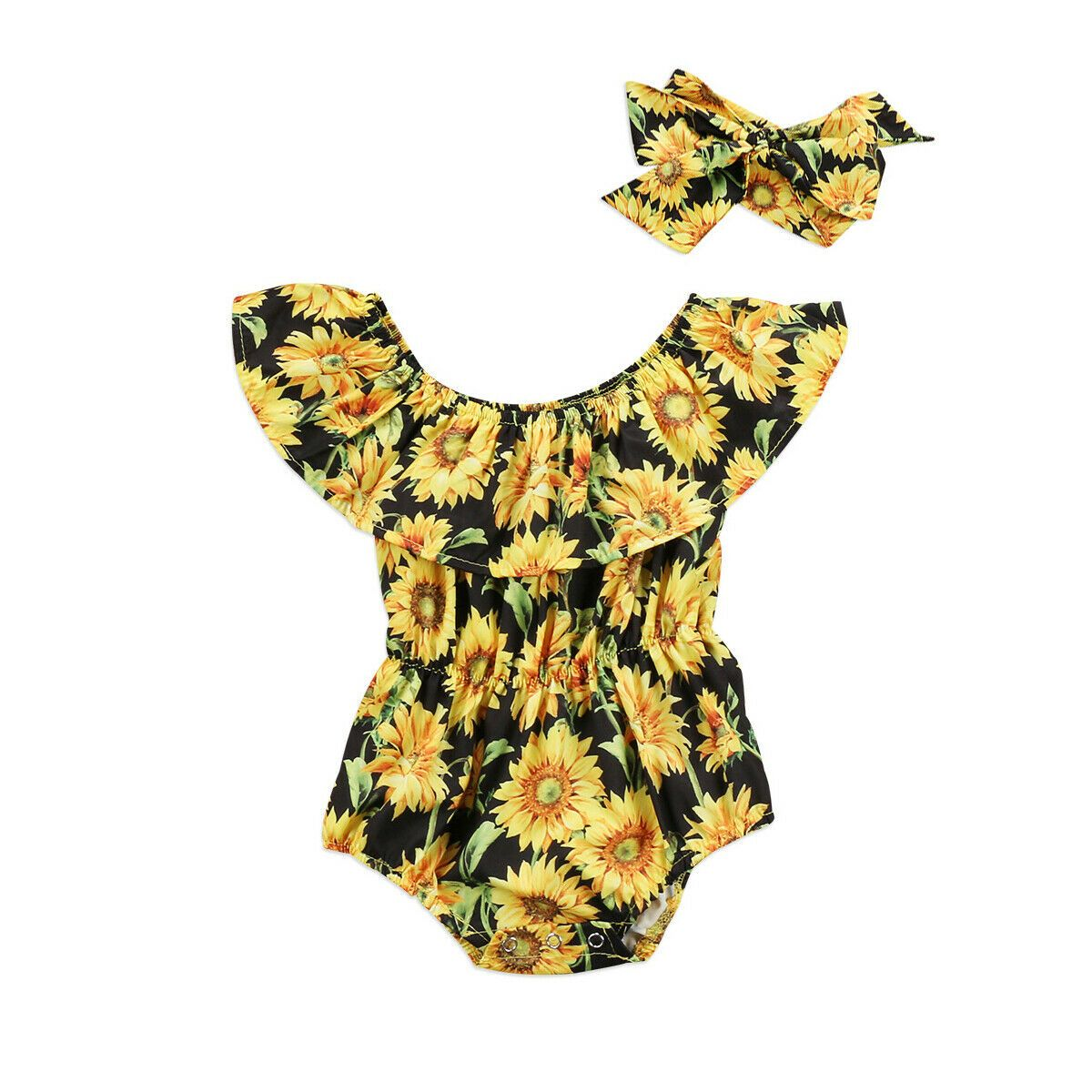 Newborn Baby Girl Bodysuit Romper Jumpsuit Summer Sleeveless Clothes Outfits Set