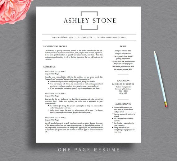 Professional Resume Template for Word \ Pages, Resume Cover Letter - professional profile template