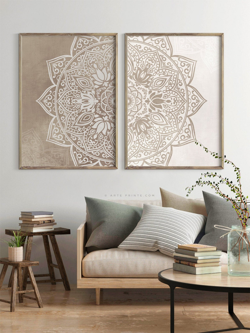 Photo of Boho Wall Decor Living Room Set of 2 Mandala Wall Art Beige Boho Mandala Bedroom Wall Art set of 2 Prints, Large Wall Art, Girl Room Decor
