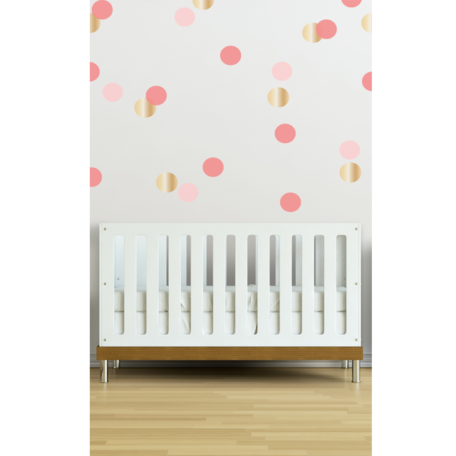 Dot Wall Decal in Coral Pink and Gold - perfect for a nursery accent wall! #PNshop #nursery  sc 1 st  Pinterest & Confetti Wall Decals in Coral | Pinterest | Coral pink Wall decals ...