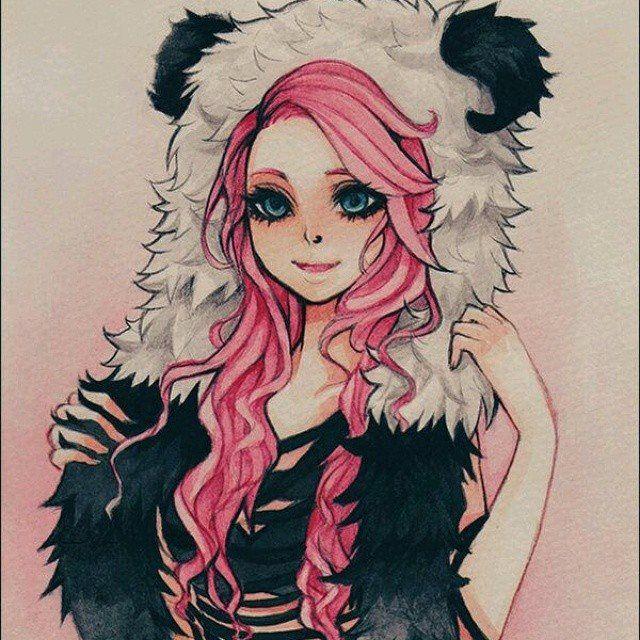 Panda Girl With Pink Hair And Green Eyes So Pretty Desenho De Menina Roupa De Panda Arte Anime